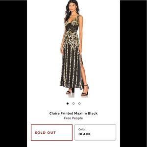 NWOT Free People Claire Maxi Dress sz Med black